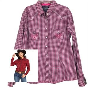 Rough Stock Plaid Embellished Pockets button shirt